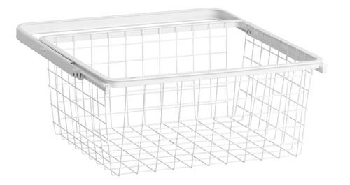 30cm Deep x 45cm Wide Wire Gliding Elfa Drawer & Basket - Medium White