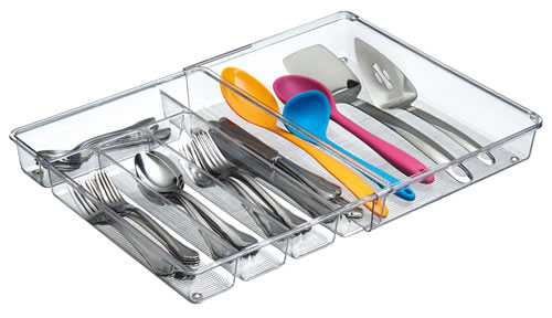 Clear plastic expandable cutlery storage tray