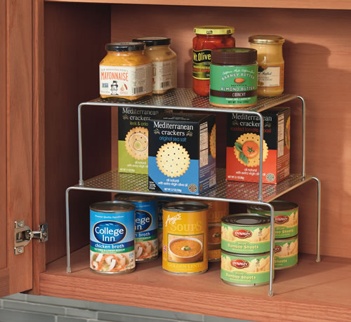 Stacking and extending kitchen cupboard shelf