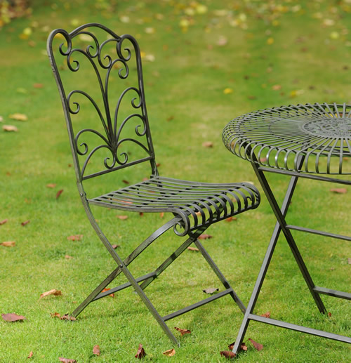 Set of 2 powder coated steel folding garden chairs - Lucton
