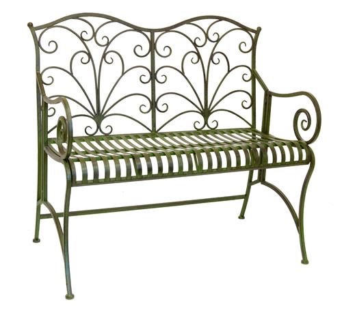 Powder coated steel garden bench - Lucton
