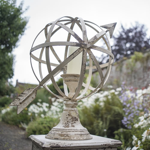 Armillary Sundial and Candle Holder