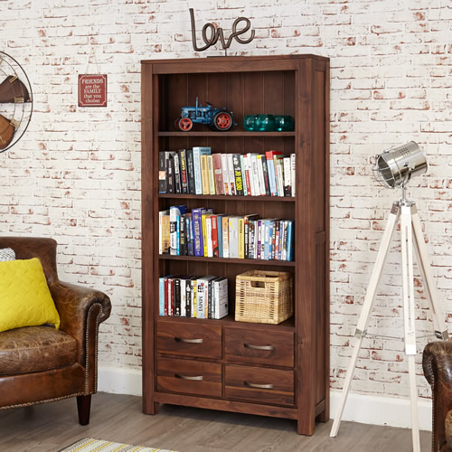 Solid walnut bookcase with 4 storage drawers