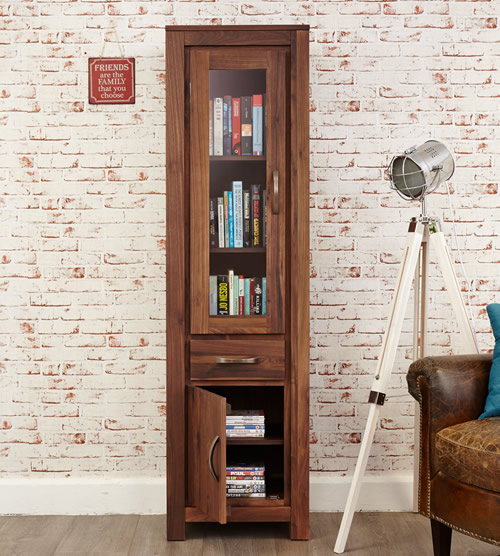 Solid walnut narrow bookcase with glazed door