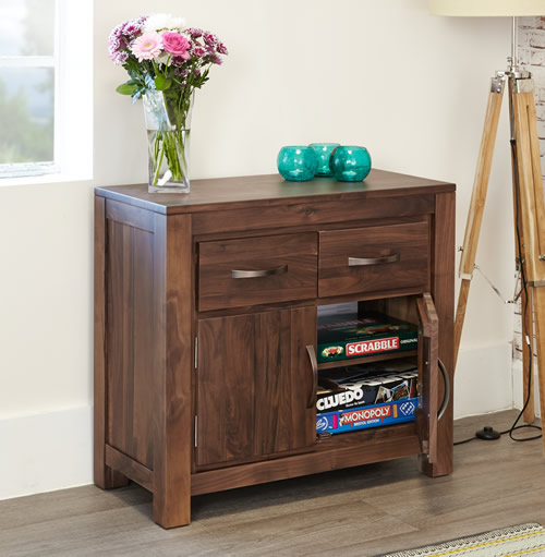 Solid walnut sideboard with 2 doors and 2 storage drawers