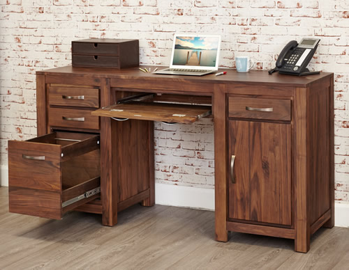 Twin pedestal solid walnut computer desk