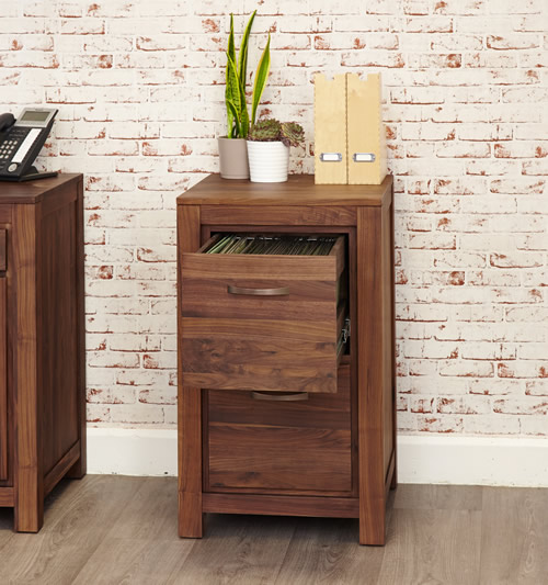 Solid walnut 2 drawer filing cabinet