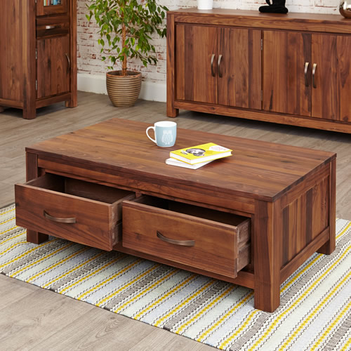 Solid walnut coffee table with 4 storage drawers - Mayan