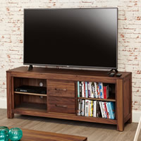 Widescreen TV Cabinet with Shelves & Drawers - Mayan