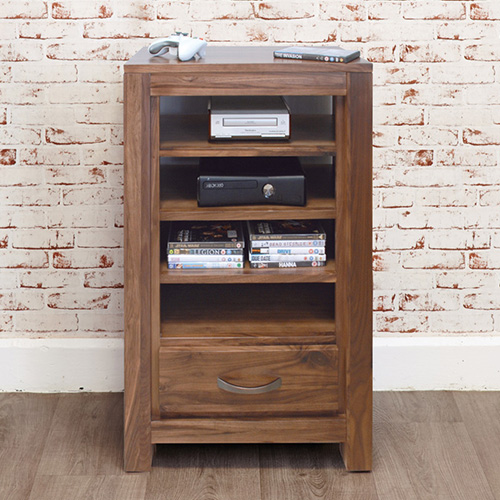 Solid walnut entertainment storage cabinet
