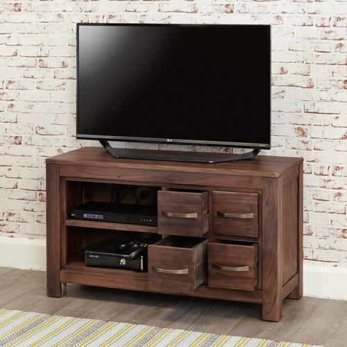 Solid walnut television cabinet with 4 storage drawers
