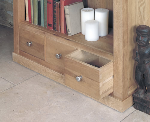 Solid oak large bookcase with 3 storage drawers