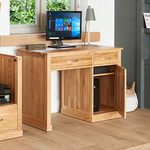 Solid oak single pedestal computer desk