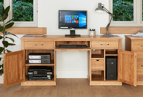 Solid oak twin pedestal computer desk
