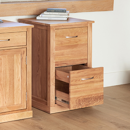 Solid oak 2 drawer filing cabinet