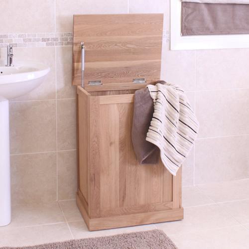 Solid oak laundry bin