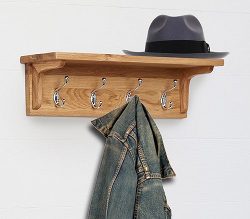 Solid oak wall mounted coat rack with shelf