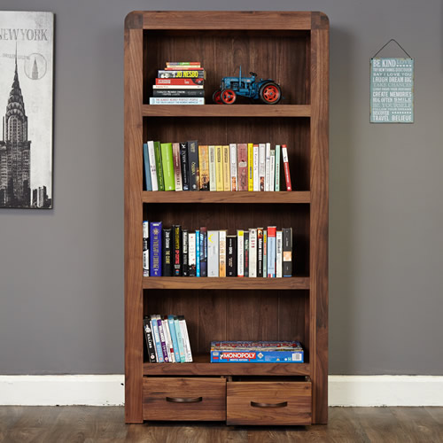 Solid walnut 2 drawer large bookcase