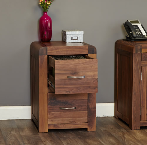 Solid walnut two drawer filing cabinet - Shiro