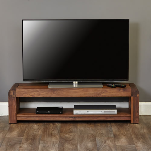 Solid walnut low TV storage cabinet