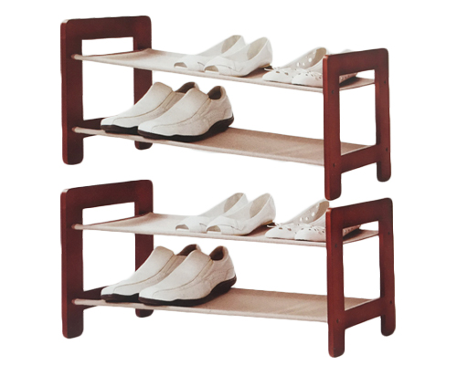 Neatfreak Wood and Fabric Shoe Rack -Greystone Wood 2 Tier
