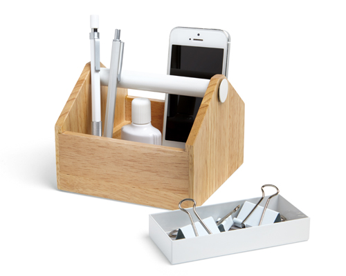 Toto Storage Box in Wood & White by umbra