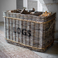 Rattan Log & Kindling Basket with Rope