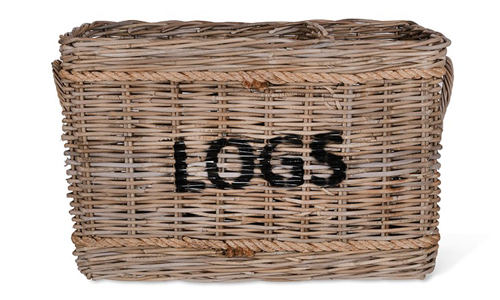 Rattan Log Basket with Rope