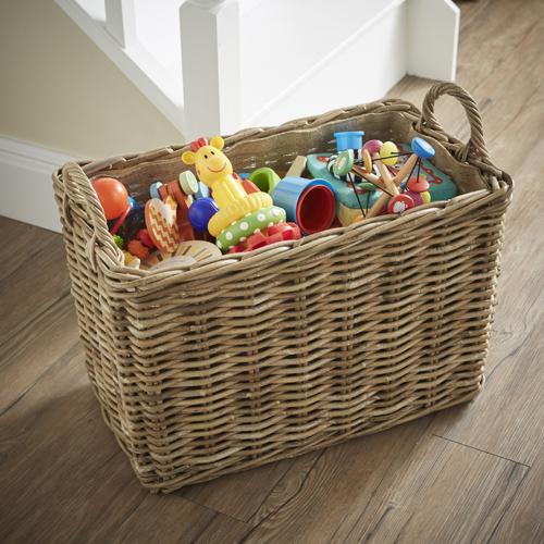 Rattan Basket with Handles - Medium