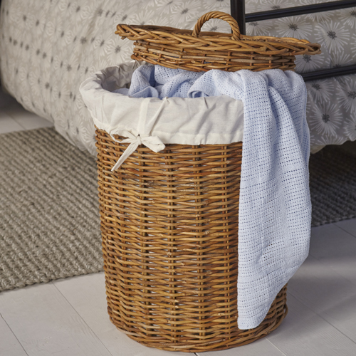Round Rattan Basket With Lid Medium Store Basketware