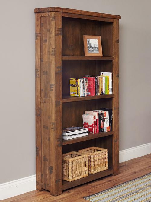Solid Oak Large Open Bookcase - Heyford Rough Sawn