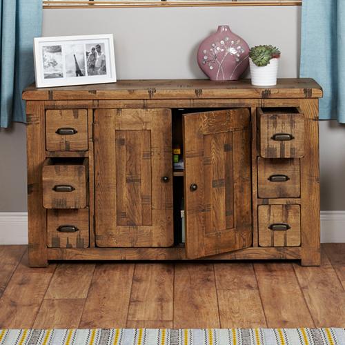 Oak Six Drawer Sideboard - Heyford Rough Sawn
