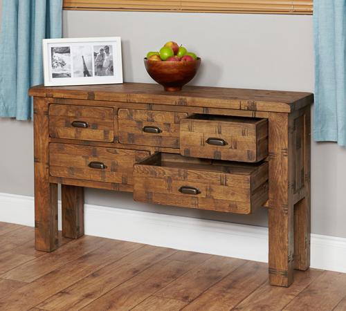 Solid Oak Console Table - Heyford Rough Sawn
