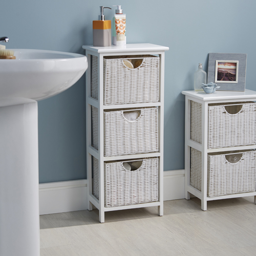 store white wood wicker style bathroom drawer unit 3 drawer. Black Bedroom Furniture Sets. Home Design Ideas