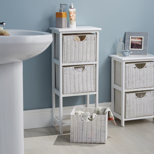 Awesome Websites White Wood u Wicker Bathroom Drawer Unit Basket