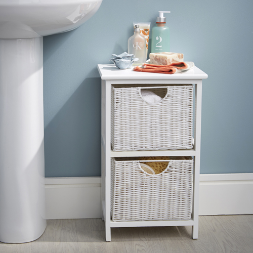 Store White Wood Amp Wicker Style Bathroom Drawer Unit 2