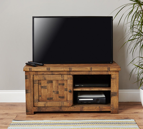 One Door Television Cabinet - Heyford Rough Sawn