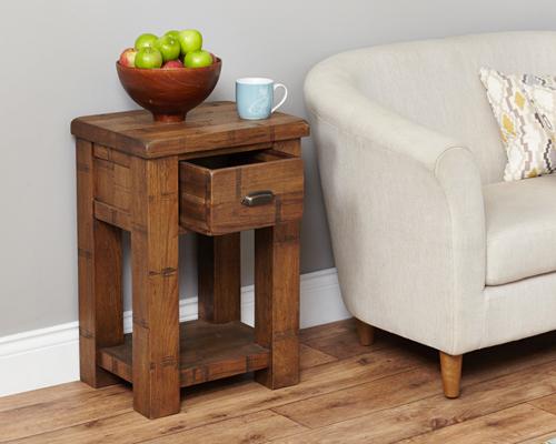 Oak Lamp Table - Heyford Rough Sawn