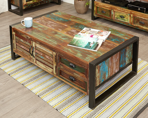 4 Door 4 Drawer Large Coffee Table - Urban Chic