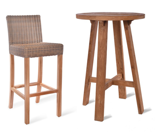 St Mawes Round Bar Table & Stool Set