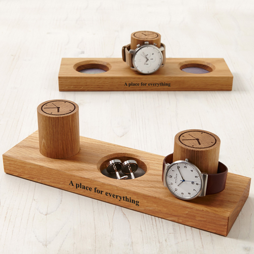 Solid Oak Cufflink Tray + Watch Stand