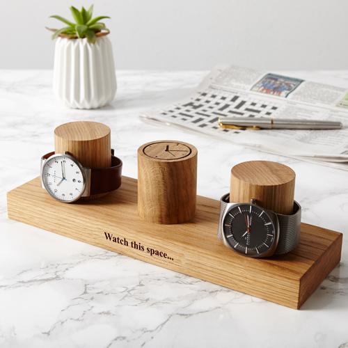 Solid Oak Watch Stand - Three Column