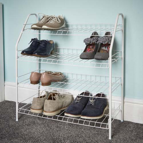 4 Tier white metal shoe rack