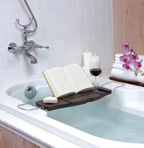 Aquala Bath Caddy in Walnut by Umbra