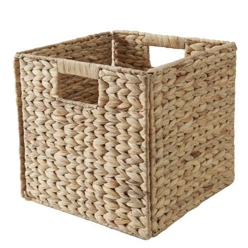 Foldable water hyacinth storage cube basket