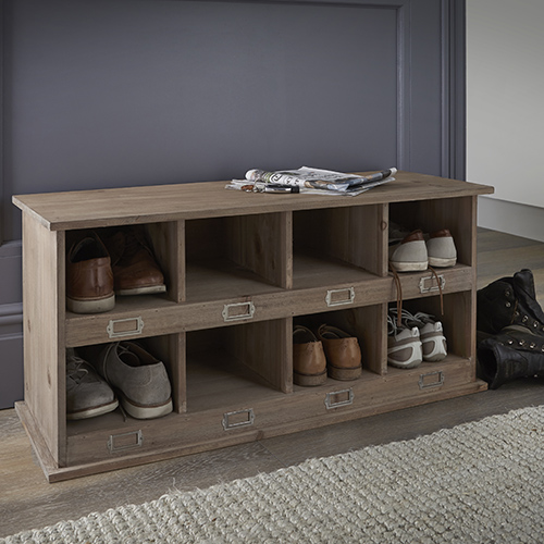 Spruce wood shoe locker storage bench