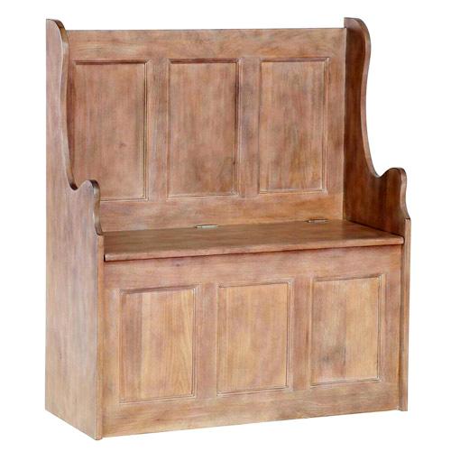 Chalked oak monks storage bench
