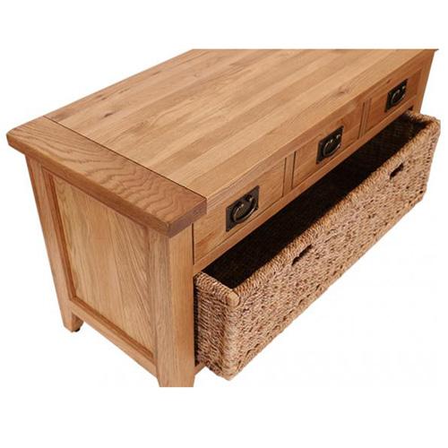 Vancouver oak petite shoe bench with basket
