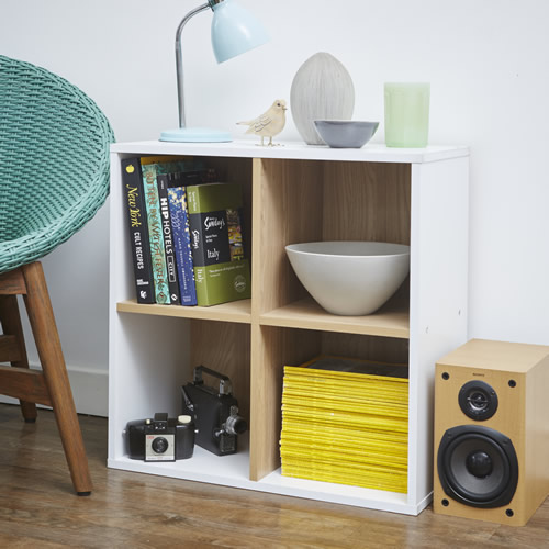 Living room white and oak quad cube shelf unit