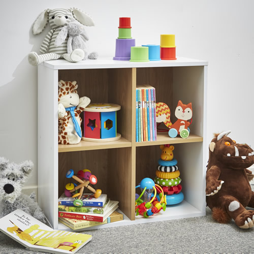 Playroom white and oak quad cube shelf unit